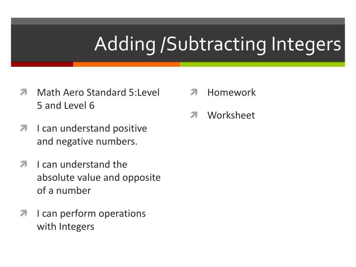 PPT - Adding /Subtracting Integers PowerPoint Presentation - ID:2380910