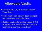 allowable vaults