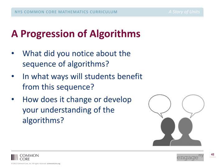 A Progression of Algorithms