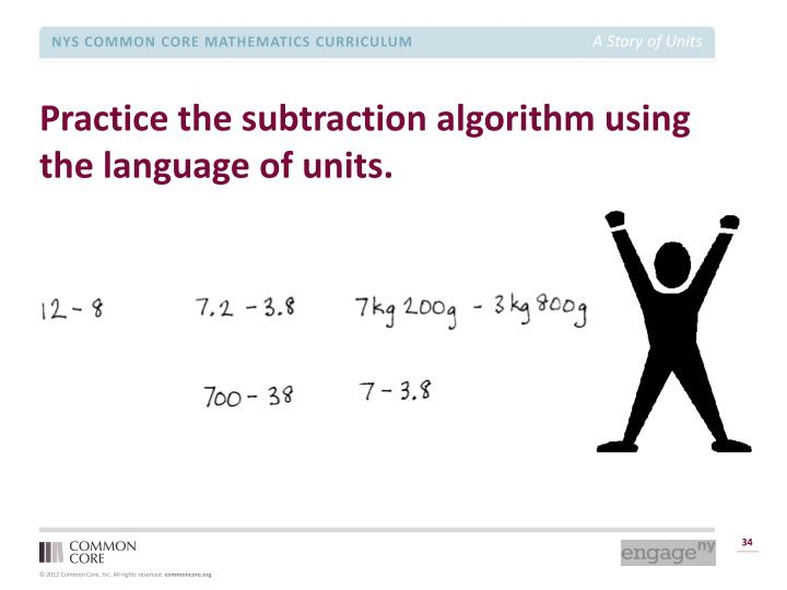 Practice the subtraction algorithm using the language of units.