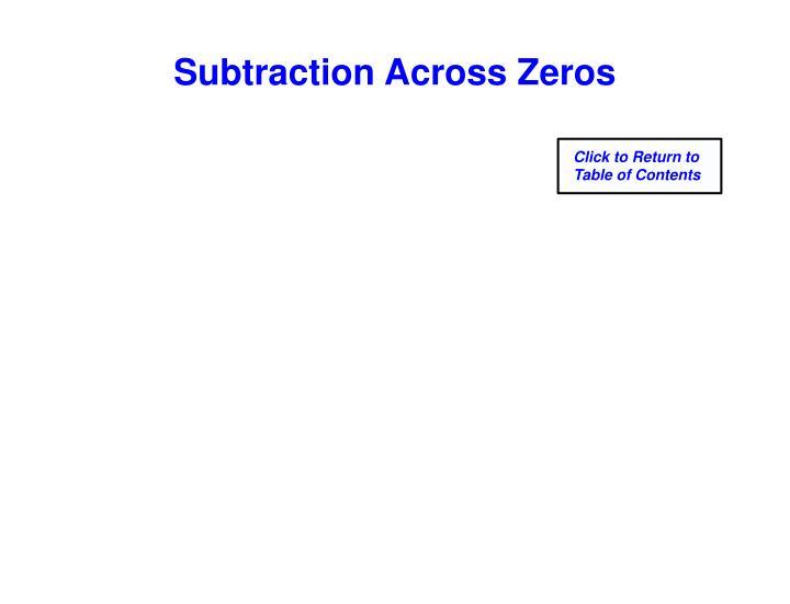 Subtraction Across Zeros