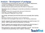 analysis development of pedagogy