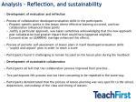 analysis reflection and sustainability