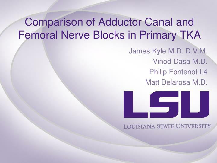 comparison of adductor canal and femoral nerve blocks in primary tka n.