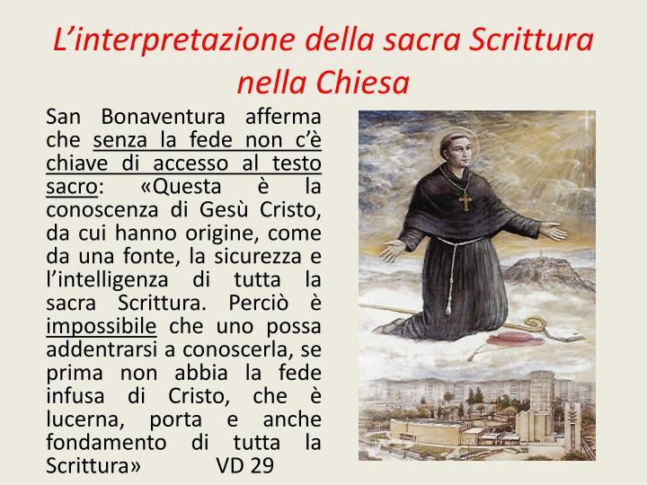 L interpretazione della sacra scrittura nella chiesa