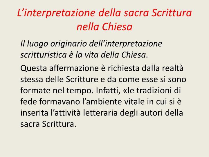 L interpretazione della sacra scrittura nella chiesa1