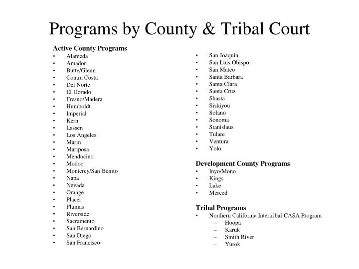 Programs by county tribal court
