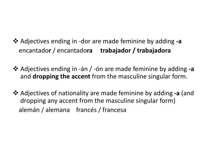 Adjectives ending in -