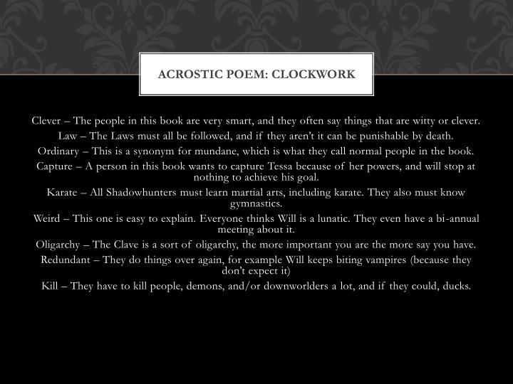 Acrostic poem: Clockwork