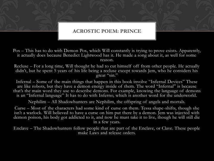 Acrostic poem: Prince