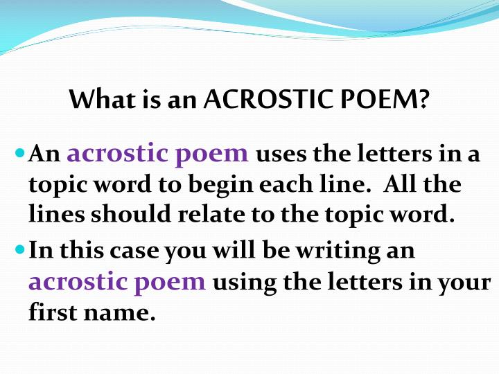 writing an acrostic poem powerpoint