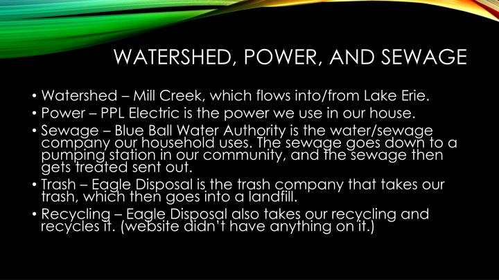 Watershed, power, and sewage