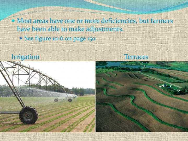 Most areas have one or more deficiencies, but farmers have been able to make adjustments.