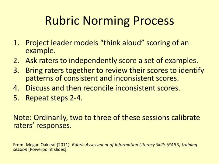 Rubric Norming Process