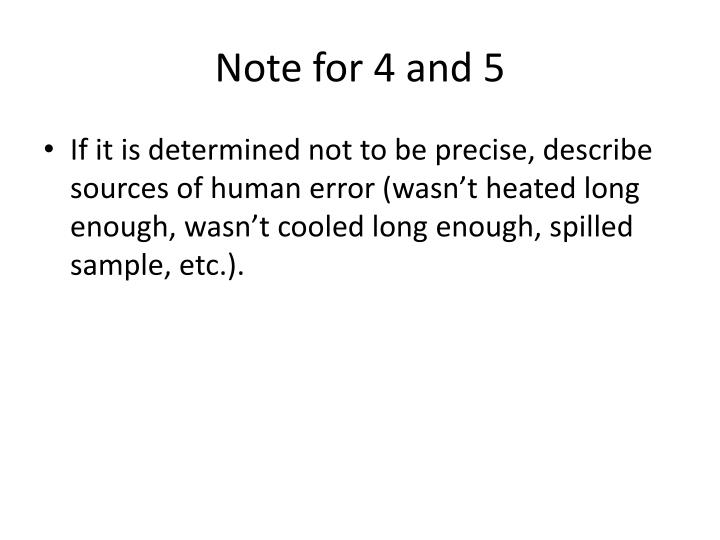 Note for 4 and 5