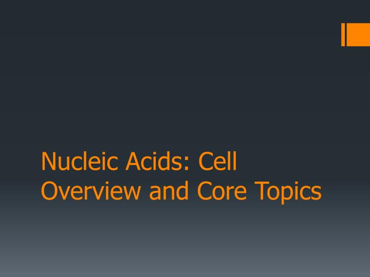 nucleic acids cell overview and core topics n.