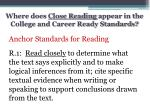 where does close reading appear in the college and career ready standards