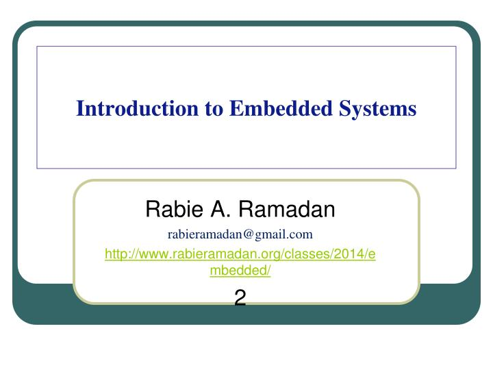 introduction to embedded systems n.