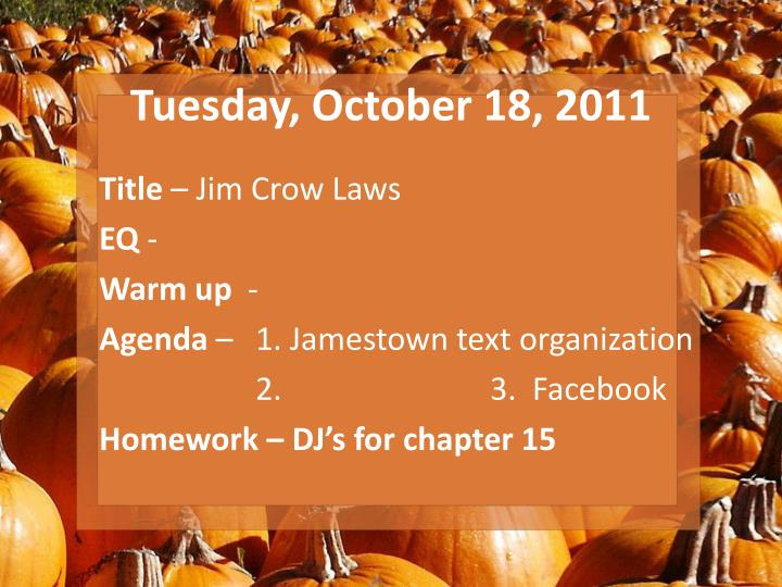 Tuesday, October 18, 2011
