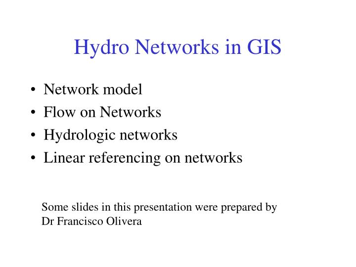 hydro networks in gis n.