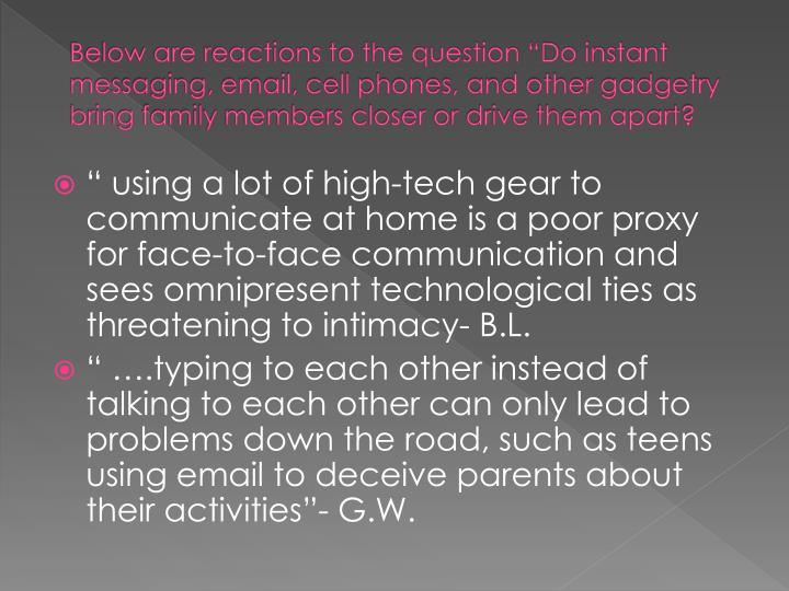"Below are reactions to the question ""Do instant messaging, email, cell phones, and other gadgetry ..."