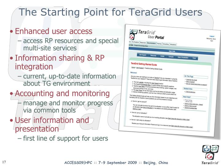 The Starting Point for TeraGrid Users