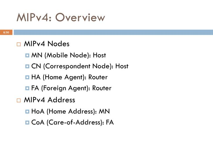 MIPv4: Overview