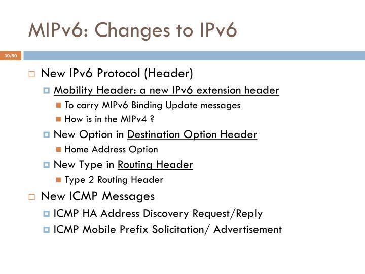 MIPv6: Changes to IPv6