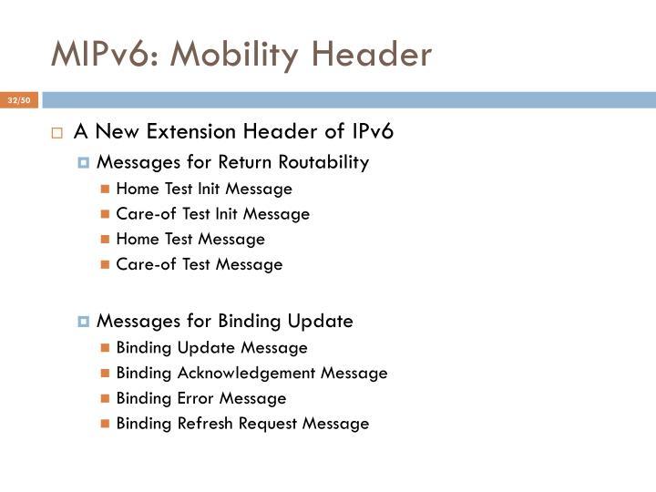 MIPv6: Mobility Header