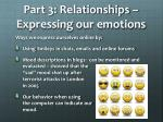 part 3 relationships expressing our emotions