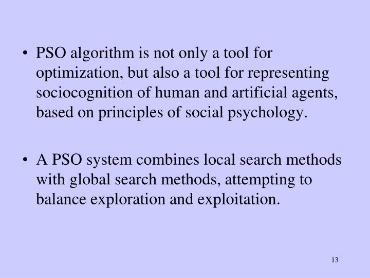 PSO algorithm is not only a tool for optimization, but also a tool for representing sociocognition of human and artificial agents, based on principles of social psychology.