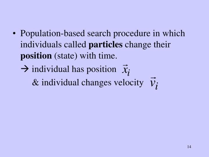 Population-based search procedure in which individuals called