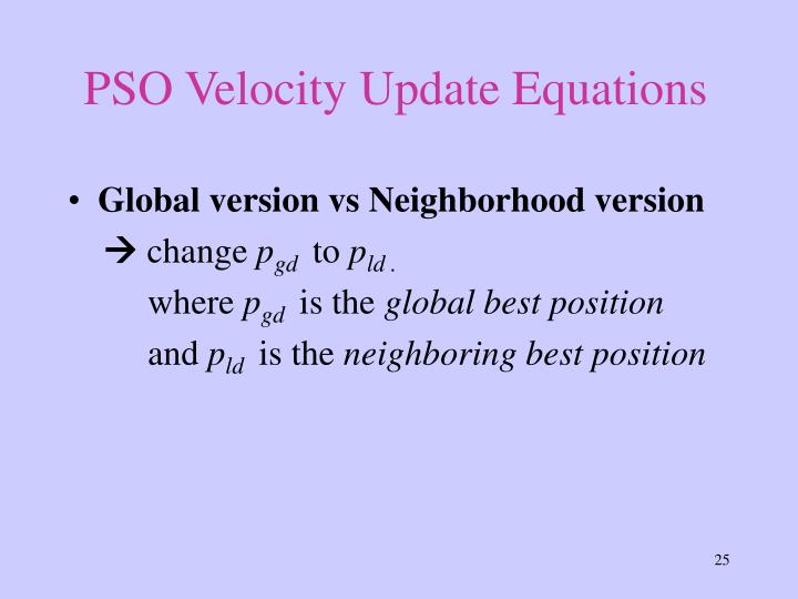 PSO Velocity Update Equations