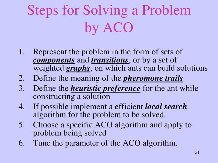 Steps for Solving a Problem by ACO