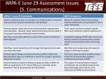 arpa e june 29 assessment issues 5 communications