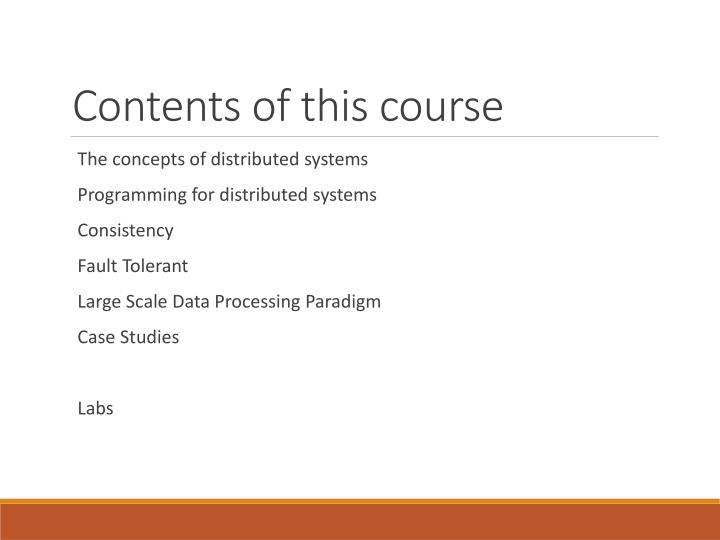 Contents of this course