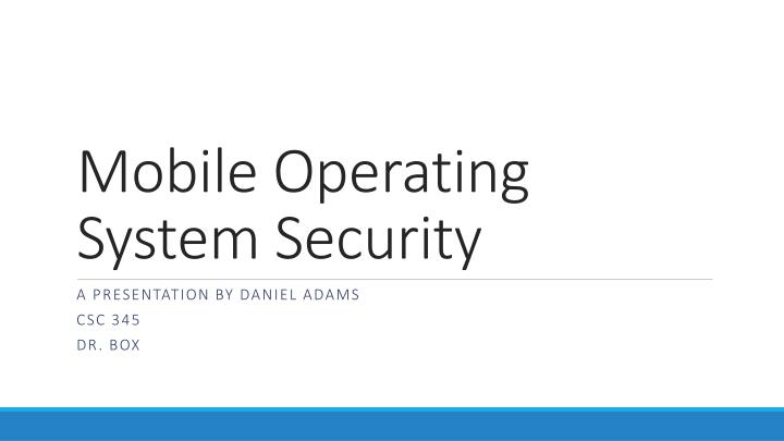 mobile operating system security n.