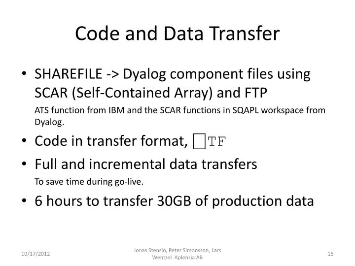 Code and Data Transfer