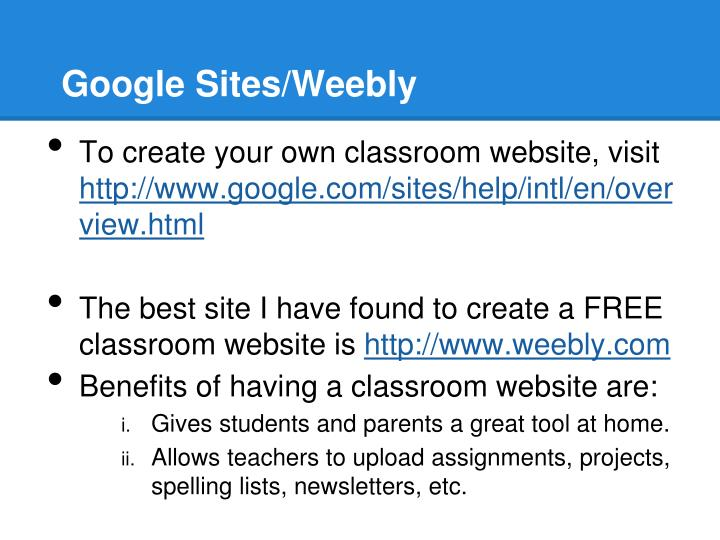Google Sites/Weebly