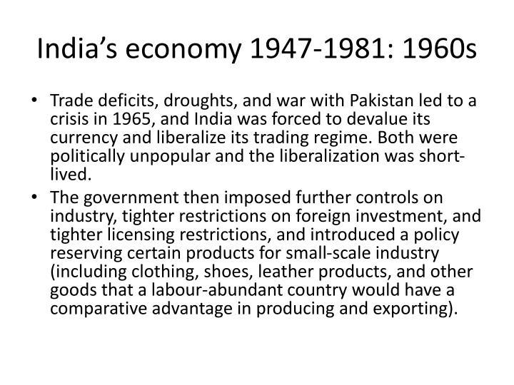 India's economy 1947-1981: 1960s