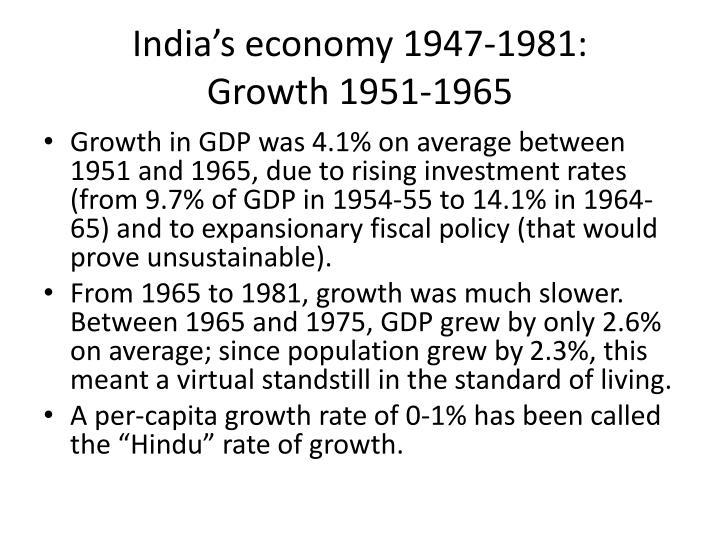 India's economy 1947-1981: