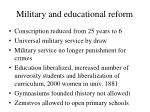 military and educational reform