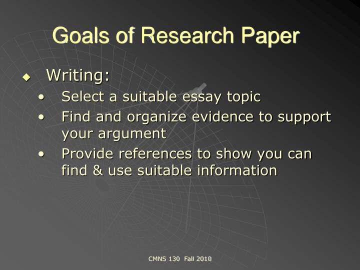 Goals research paper
