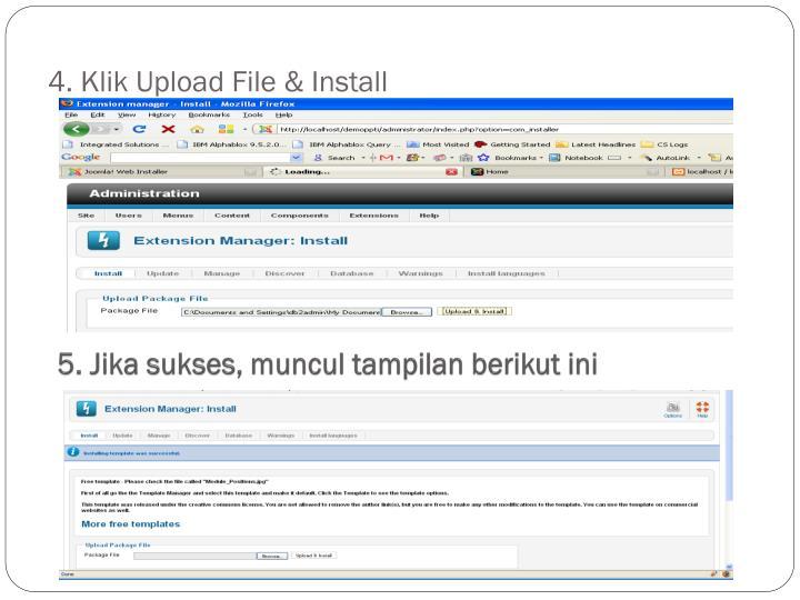 4. Klik Upload File & Install