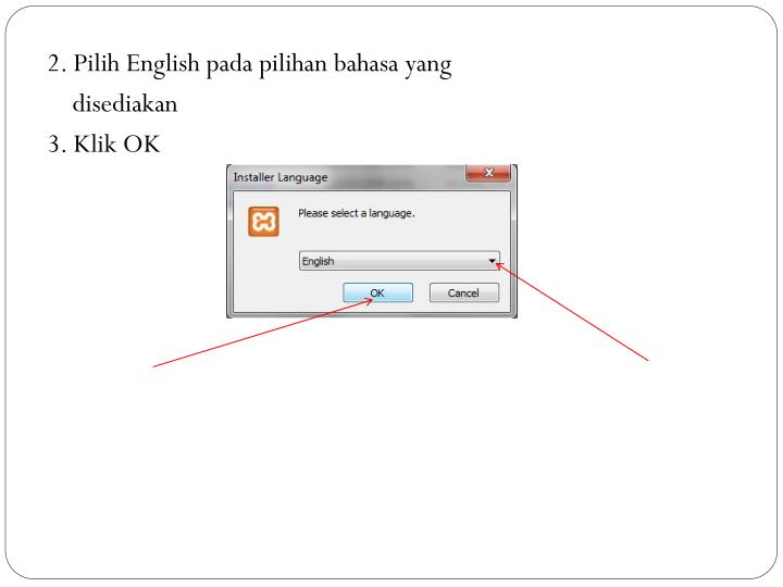 2. Pilih English pada pilihan bahasa yang