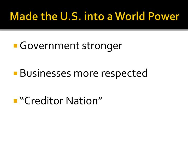 Made the U.S. into a World Power