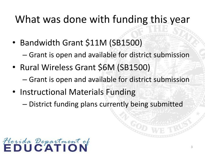 What was done with funding this year