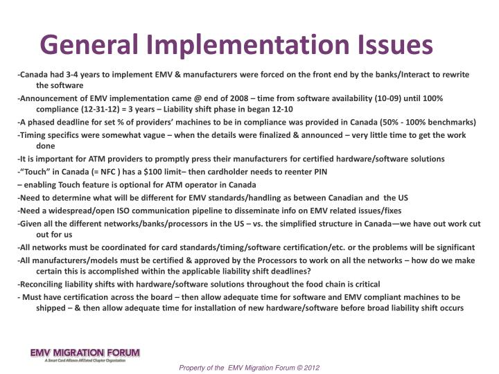 General Implementation Issues