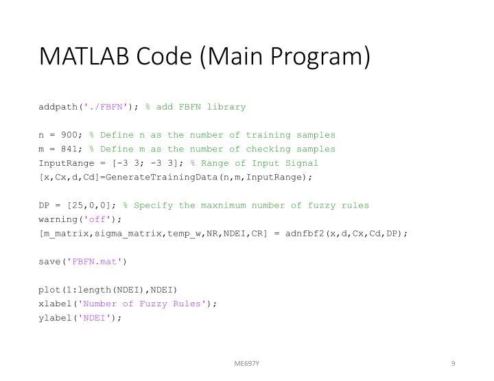 MATLAB Code (Main Program)