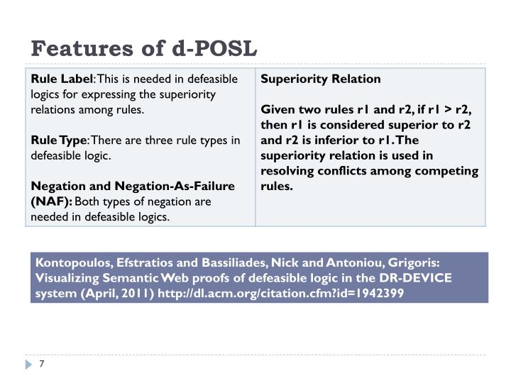 Features of d-POSL